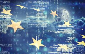 European flag, clouds, digital numbers