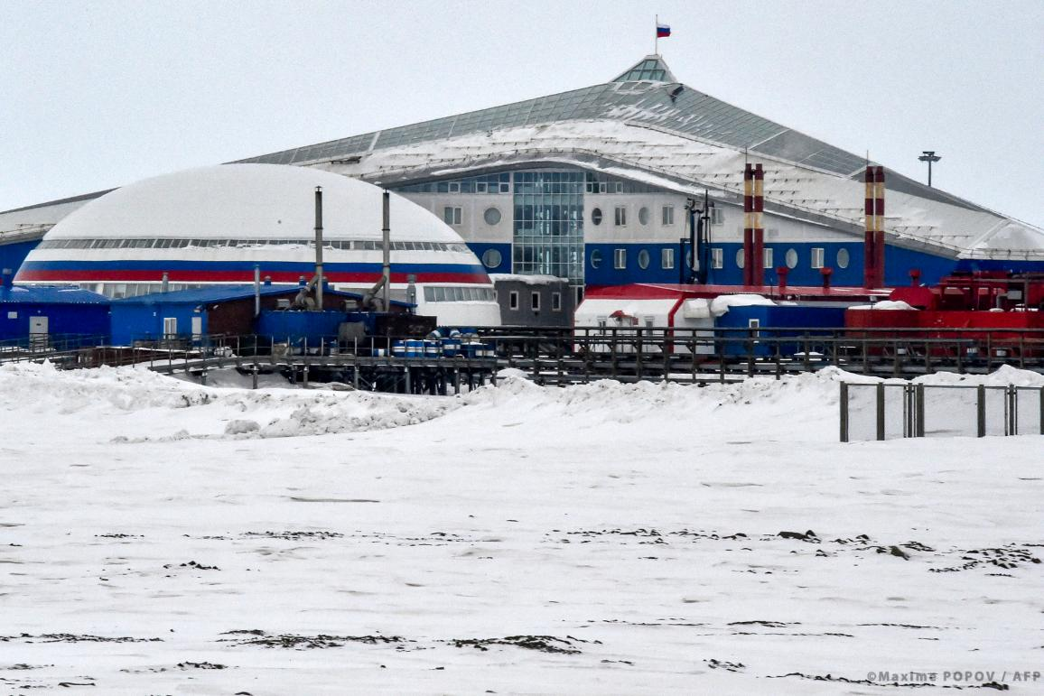 """A view of the """"Arctic Trefoil"""", or three-lobed leaf, military base on the island of Alexandra Land, which is part of the Franz Josef Land archipelago, on 17 May, 2021."""