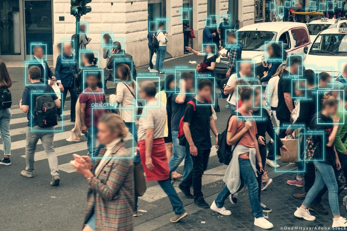 Face detection and recognition of citizens people, AI collect and analyze human data. ©AdobeStock/DedMityay