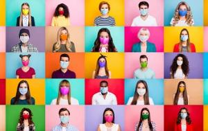 Collage of different people wearing protective masks