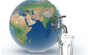 Earth globe with a tap for drinkable water