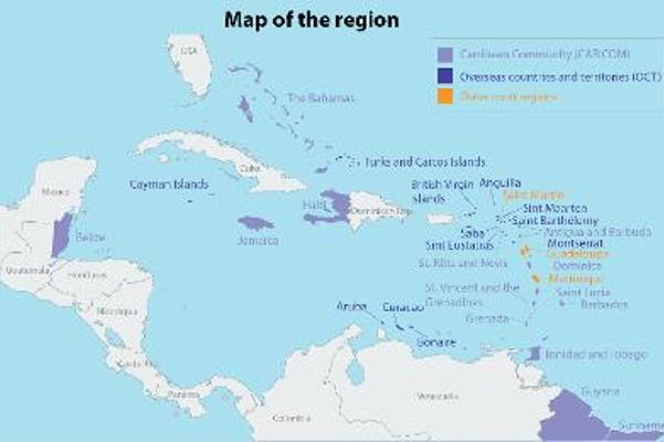 map of the caribbean region