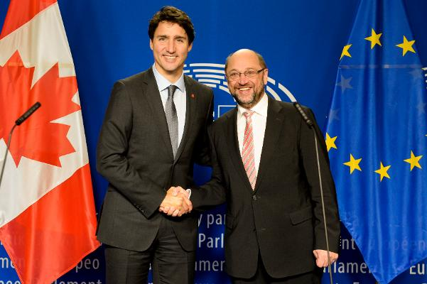 The EP President Martin Schulz and the Prime Minister of Canada Justin Trudeau.