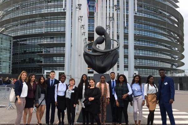 Students from Christ the King College at the European Parliament building in Strasbourg.
