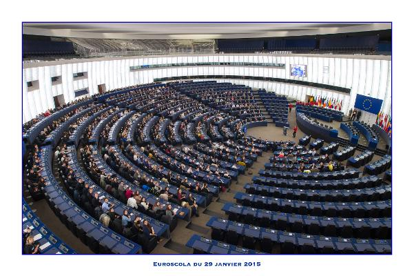 Students taking over the parliamentary chamber (Hemicycle) in Strasbourg for Euroscola. January 2015