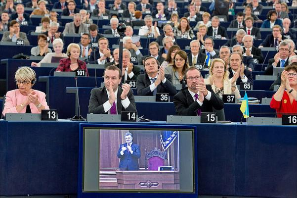 Video link to Kiev as European Parliament gives green light to EU–Ukraine agreement