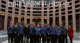 Students from St Columb's College at the European Parliament building in Strasbourg.