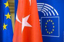 Flags of the European Union and Turkey