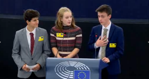 Seb, Ellie and Louis presenting the South West UK group at Euroscola in Strasbourg (webstreaming captured)